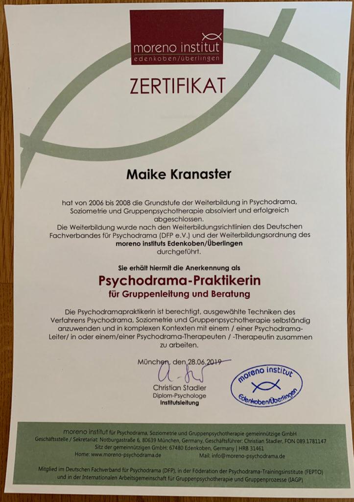 Psychodrama Zertifikat