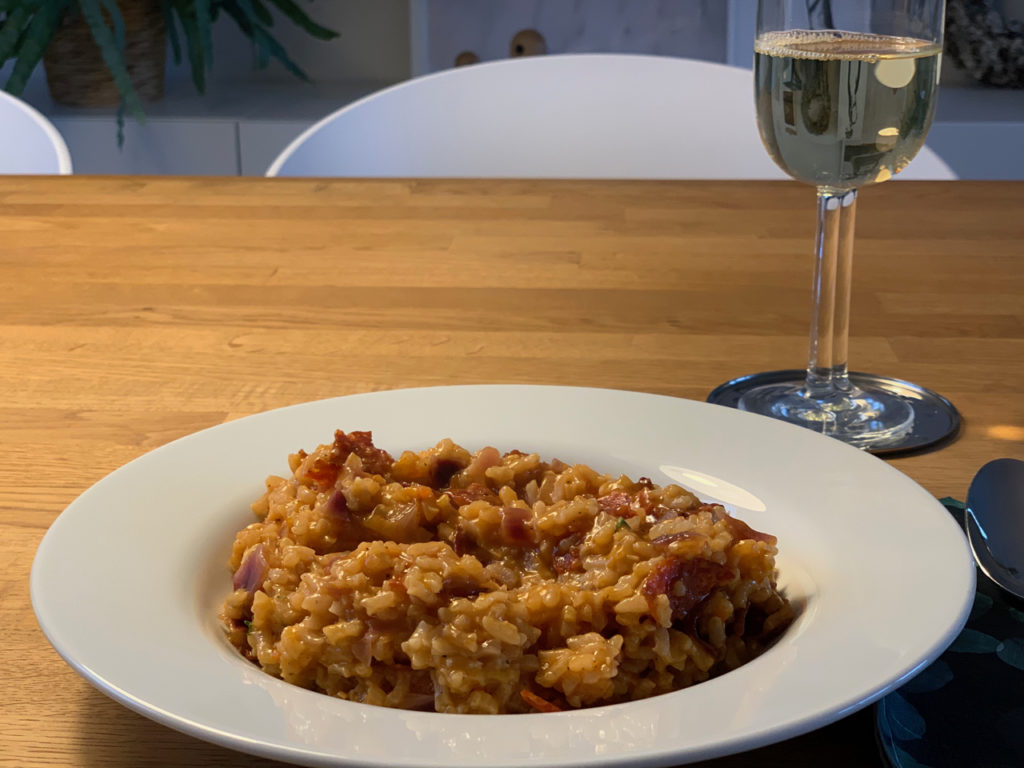 Risotto mit Chorizo und roten Zwiebeln