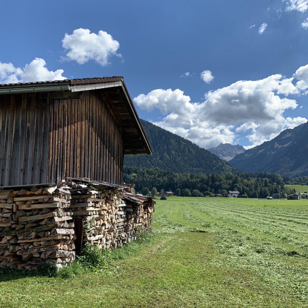 Oberstdorf: Hütte mit frisch gemähtem Gras und Gerben im Hintergrund
