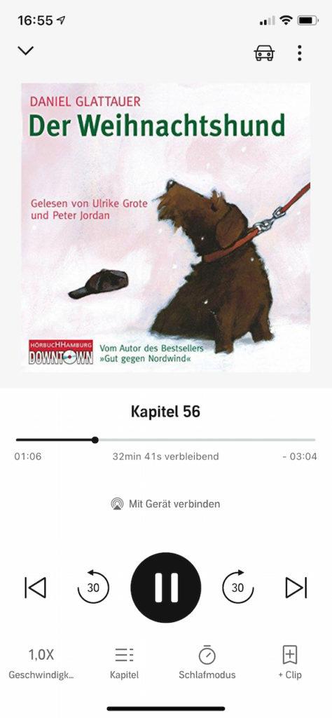 """Screenshot vom Hörbuch """"Der Weihnachtshund"""" von Daniel Glattauer. Abgebildet: Hund Kurt."""
