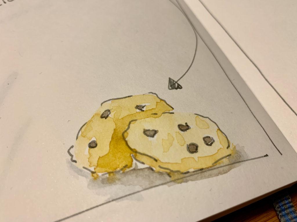 Sketch-Bild von zwei Cookies, mit Aquarell-Farbe gemalt